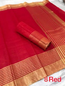 Red Kota Doriya Cotton Saree With Blouse