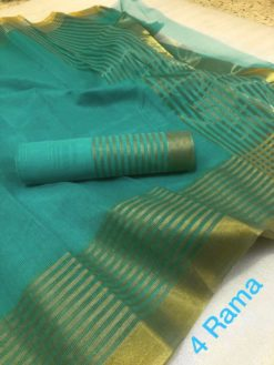 Rama Color Kota Doriya Cotton Saree With Blouse