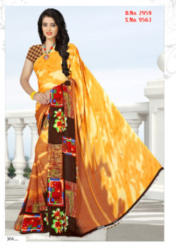 Yellow Soft Georgette Wholesale Saree With Blouse