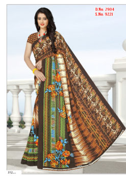 Brown Soft Georgette Wholesale Saree With Blouse