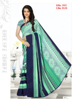 Rama Blue Soft Georgette Wholesale Saree With Blouse