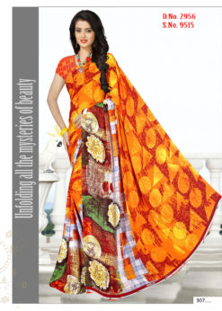 Yellow Red Soft Georgette Wholesale Saree With Blouse