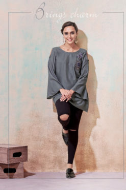 Grey Heavy Rayon with Embroidery Tops Design No.- 2001