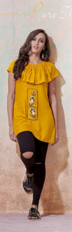 Yellow Heavy Rayon with Embroidery Tops Design No.- 2003