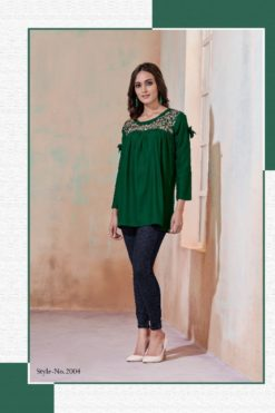 Mehendi Green Heavy Rayon with Embroidery Tops Design No.- 2004