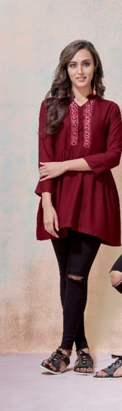 Maroon Heavy Rayon with Embroidery Tops Design No.- 2005