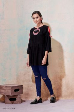 Black Heavy Rayon with Embroidery Tops Design No.- 2009