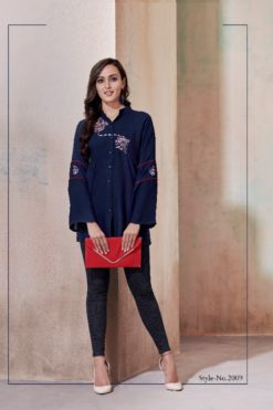Navy Blue Heavy Rayon with Embroidery Tops Design No.- 2008