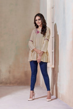 Cream Heavy Rayon with Embroidery Tops Design No.- 2010
