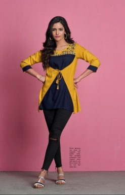 Yellow With Navy Blue Heavy Rayon Tops Design No. - 2029