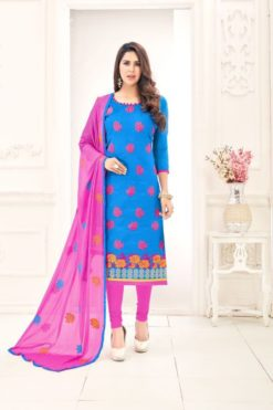 Light Blue Pink Chanderi With Embroidery Dress Material 1007