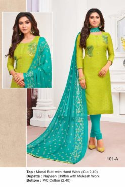 Lime Flower Color Modal Dress Material Code 101-A