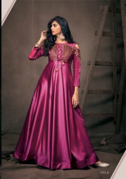 Magenta Soft Tapeta With Embroidery Work Gown 193-E