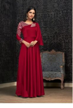 Maroon Glowing Georgette With Embroidery Work Gown 1503-A