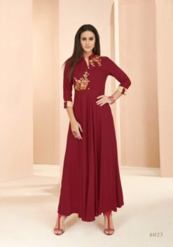 Maroon Heavy Rayon Gowns Design No. - 6023