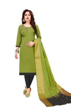 Mehendi Green Dark Grey South Cotton Slub With Embroidery Dress Materials 1006