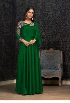 Mehendi Green Glowing Georgette With Embroidery Work Gown 1503-C