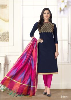 Navy Blue Pink Pc Cotton Kurti 1004
