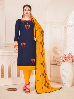 Navy Blue Yellow Glace Cotton With Embroidery Dress Material 1004