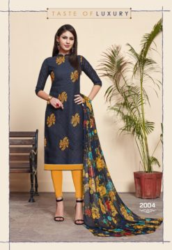 Navy Blue Yellow Lakda Jacquard Dress Material 2011