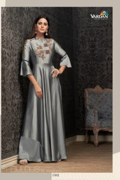 Grey Glowing Georgette Wholesale Gowns Design No. - 1502