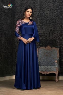 Navy Blue Glowing Georgette Wholesale Gowns Design No. - 1503