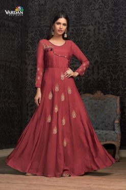 Maroon Maslin Wholesale Gowns Design No. - 1603