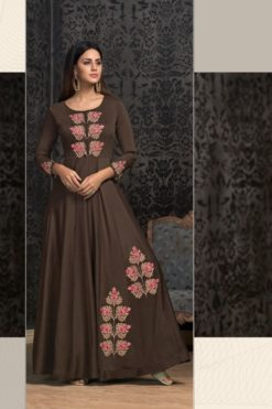 Coffee Brown Blue Maslin Wholesale Gowns Design No. - 1604