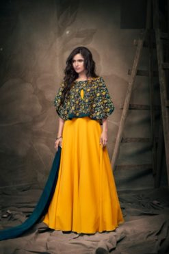 Yellow Georgette and Soft Tapeta Silk Gown Design No. - 182