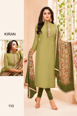 Olive Green Color Silk Dress Material Code 110