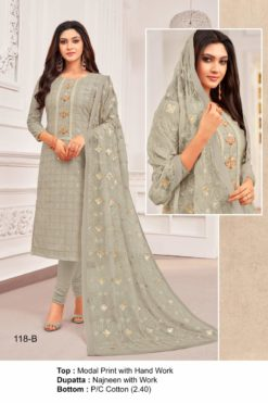 Olive Grey Color Modal Dress Material Code 118-B