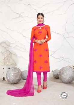 Orange Pink Chanderi with Embroidery Dress Material 1012