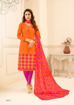 Orange Pink Lakda Jacquard with Embroidery Dress Material 50011