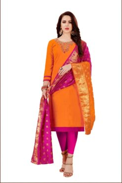 Orange Raani South Cotton Slub With Embroidery Dress Materials 1002