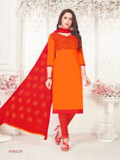 Orange Red Glace Cotton With Embroidery 1011