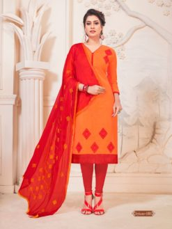 Orange Red Glace Cotton With Embroidery Dress Material 1005