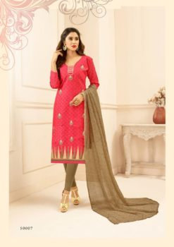 Peach Brown Lakda Jacquard with Embroidery Dress Material 50007