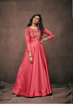 Peach Triva Satin With Embroidery Gown 192