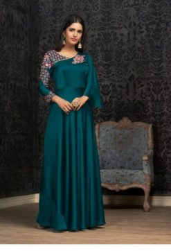 Peacock Blue Glowing Georgette With Embroidery Work Gown 1503-B