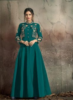 Peacock Blue Soft Tapeta With Embroidery Work Gown 1406-B