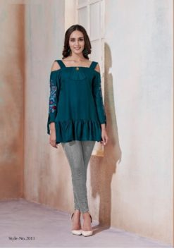 Peacock Blue Heavy Rayon with Embroidery Tops Design No.- 2011