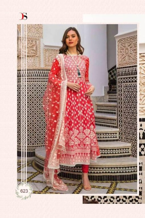 Persian Red Color Pure Cotton Dress Material Code 623