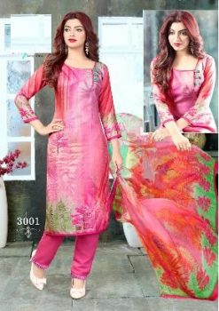 Pink Color Pure Cotton Dress Material Code 3001