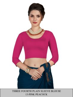 Pink Peacock Three Fourth Plain Sleeve Readymade Blouse Wholesale