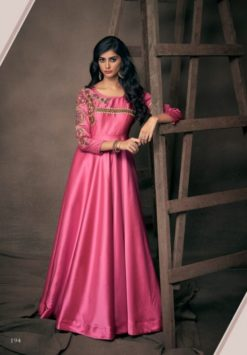 Pink Triva Satin With Embroidery Gown 194
