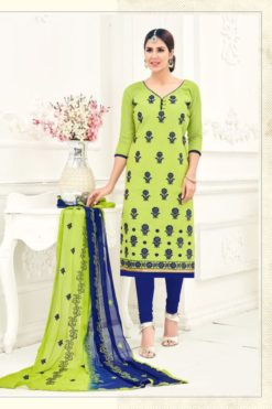 Pista Green Dark Blue Chanderi With Embroidery Dress Material 1008