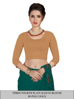 Polo Gold Three Fourth Plain Sleeve Readymade Blouse Wholesale
