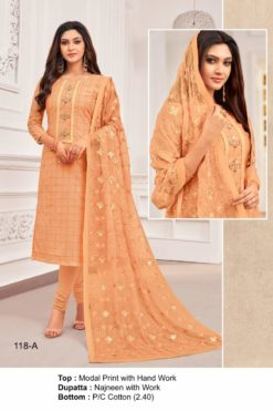 Porsche Peach Color Modal Dress Material Code 118-A