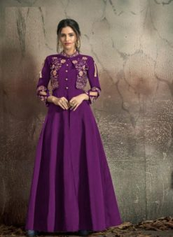Purple Soft Tapeta With Embroidery Work Gown 1406-D