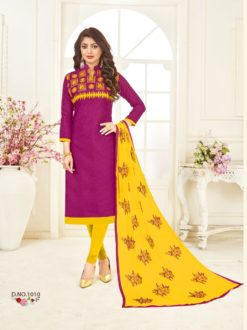 Purple Yellow Bombay Jacquard With Work Dress Material 1010